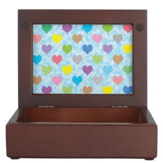 Colorful hearts pattern keepsake boxes