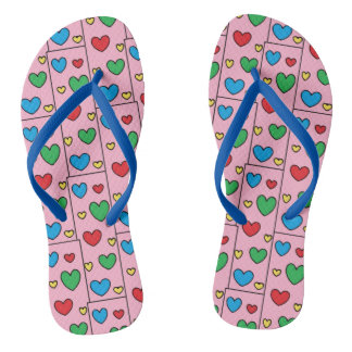 Colorful Hearts Pattern on PINK Girly Flip Flops