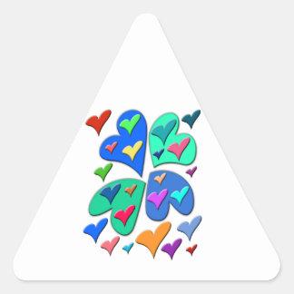 Colorful Hearts Triangle Sticker