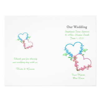 Colorful Hearts Watercolor Wedding Program Flyers