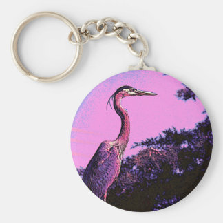 Colorful Heron Basic Round Button Key Ring