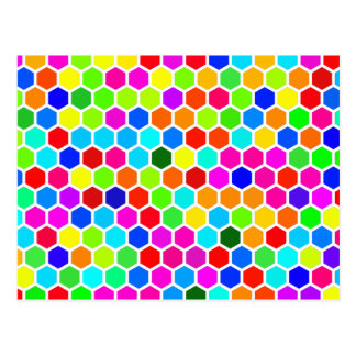 Colorful Hexagon Pattern Postcard