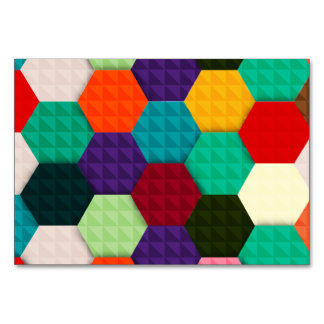 Colorful hexagonal pattern table cards