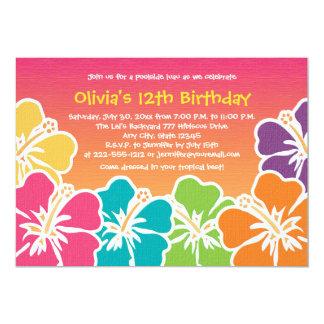 "Colorful Hibiscus Birthday Invitations Any Age 5"" X 7"" Invitation Card"