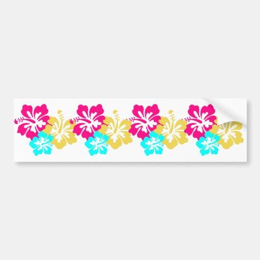 Colorful Hibiscus Design Bumper Stickers