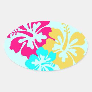 Colorful Hibiscus Design Oval Sticker