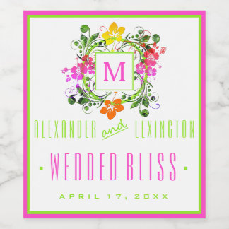 Colorful Hibiscus Flowers Monogrammed Wedding Wine Label