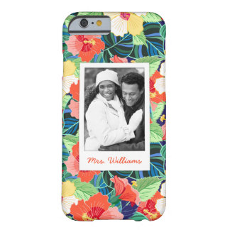 Colorful Hibiscus Pattern | Add Your Photo & Name Barely There iPhone 6 Case