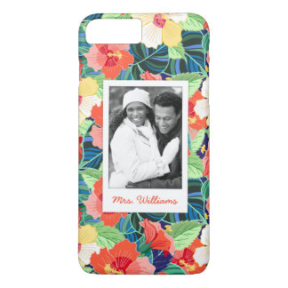 Colorful Hibiscus Pattern | Add Your Photo & Name iPhone 8 Plus/7 Plus Case