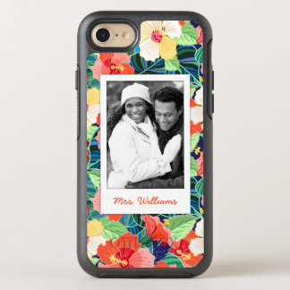 Colorful Hibiscus Pattern | Add Your Photo & Name OtterBox Symmetry iPhone 8/7 Case