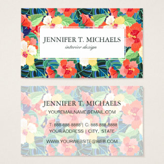 Colorful Hibiscus Pattern | Monogram Business Card