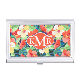 Colorful Hibiscus Pattern | Monogram Business Card Holder