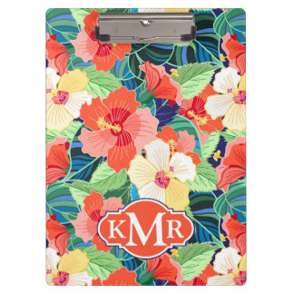 Colorful Hibiscus Pattern | Monogram Clipboard
