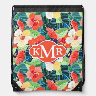 Colorful Hibiscus Pattern | Monogram Drawstring Bag