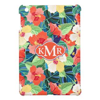 Colorful Hibiscus Pattern | Monogram iPad Mini Cover