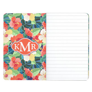 Colorful Hibiscus Pattern | Monogram Journal