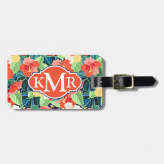 Colorful Hibiscus Pattern | Monogram Luggage Tag