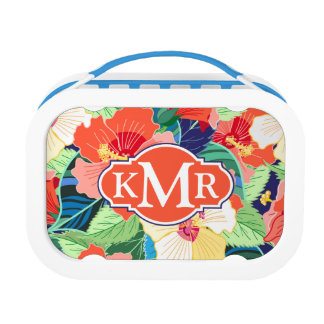 Colorful Hibiscus Pattern | Monogram Lunch Box