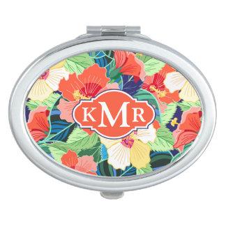 Colorful Hibiscus Pattern   Monogram Mirror For Makeup