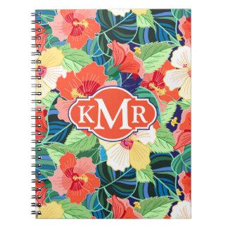 Colorful Hibiscus Pattern   Monogram Notebooks