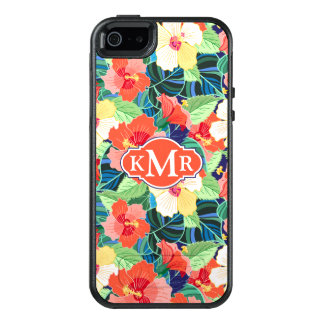 Colorful Hibiscus Pattern | Monogram OtterBox iPhone 5/5s/SE Case