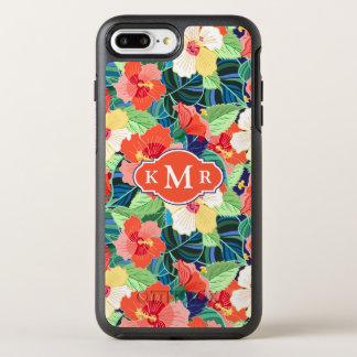 Colorful Hibiscus Pattern | Monogram OtterBox Symmetry iPhone 7 Plus Case