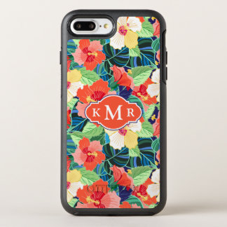 Colorful Hibiscus Pattern | Monogram OtterBox Symmetry iPhone 8 Plus/7 Plus Case