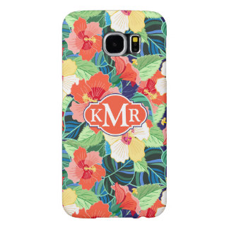 Colorful Hibiscus Pattern | Monogram Samsung Galaxy S6 Cases
