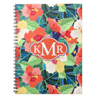 Colorful Hibiscus Pattern | Monogram Spiral Notebooks