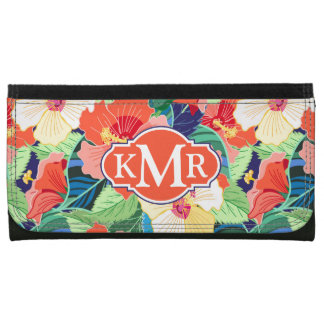 Colorful Hibiscus Pattern | Monogram Wallets