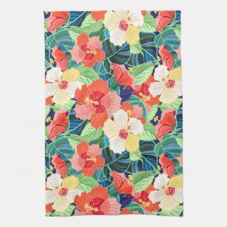 Colorful Hibiscus Pattern Tea Towel