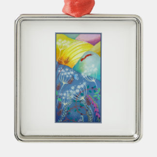 Colorful Hills, Plants and Fox. Silver-Colored Square Decoration