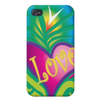 Colorful hippy love & heart cases for iPhone 4