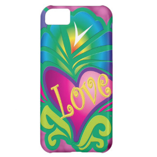 Colorful hippy love & heart iPhone 5C case