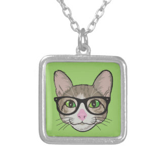 Colorful Hipster Cat Pendant