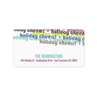 Colorful Holiday Cheers Holiday Address Labels