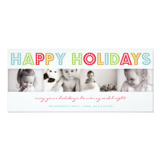 COLORFUL HOLIDAY   HOLIDAY PHOTO CARD 10 CM X 24 CM INVITATION CARD