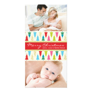 COLORFUL HOLIDAY PHOTOCARD :: patternedxmastree 2P Card