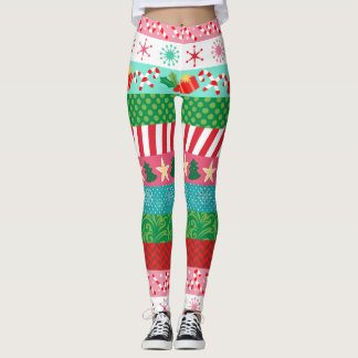 Colorful Holiday Stripes Leggings