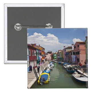 Colorful homes along canal on the island of 15 cm square badge
