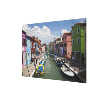 Colorful homes along canal on the island of canvas print