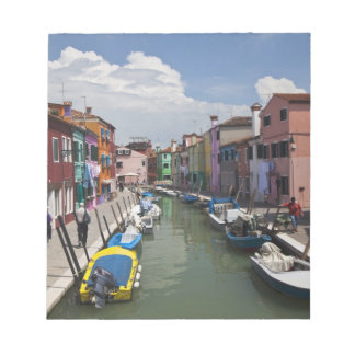 Colorful homes along canal on the island of notepad