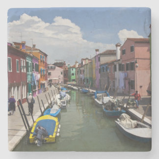 Colorful homes along canal on the island of stone coaster