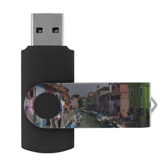 Colorful homes along canal on the island of USB flash drive