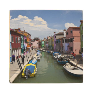 Colorful homes along canal on the island of wood coaster