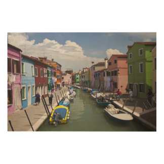 Colorful homes along canal on the island of wood wall art