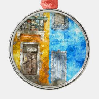 Colorful Homes in Burano Italy near Venice Silver-Colored Round Decoration