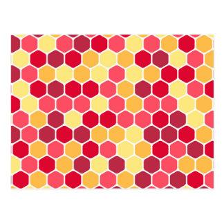 Colorful Honeycomb Hexagon Pattern Postcard