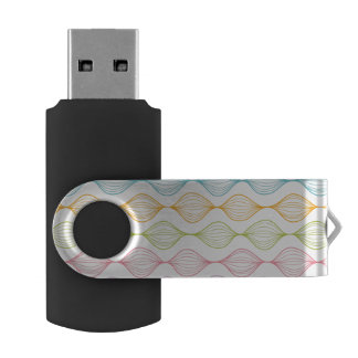 Colorful horizontal ogee pattern swivel USB 2.0 flash drive