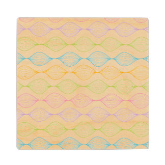 Colorful horizontal ogee pattern wood coaster